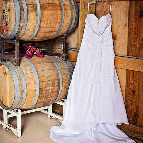 wedding dress at Amy's Courtyard in Palisade Colorado